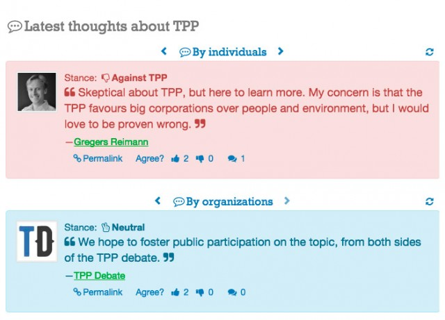 """Latest thoughts about TPP?"" in the website homepage"