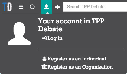 Creating a user account on TPP Debate